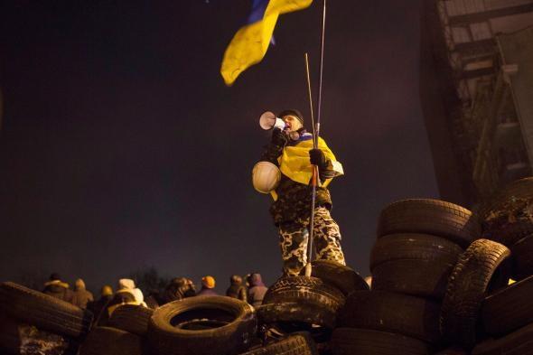 A protester in Kiev