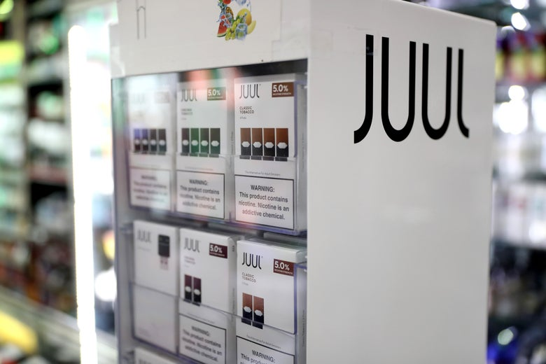 Juul products in a display case.