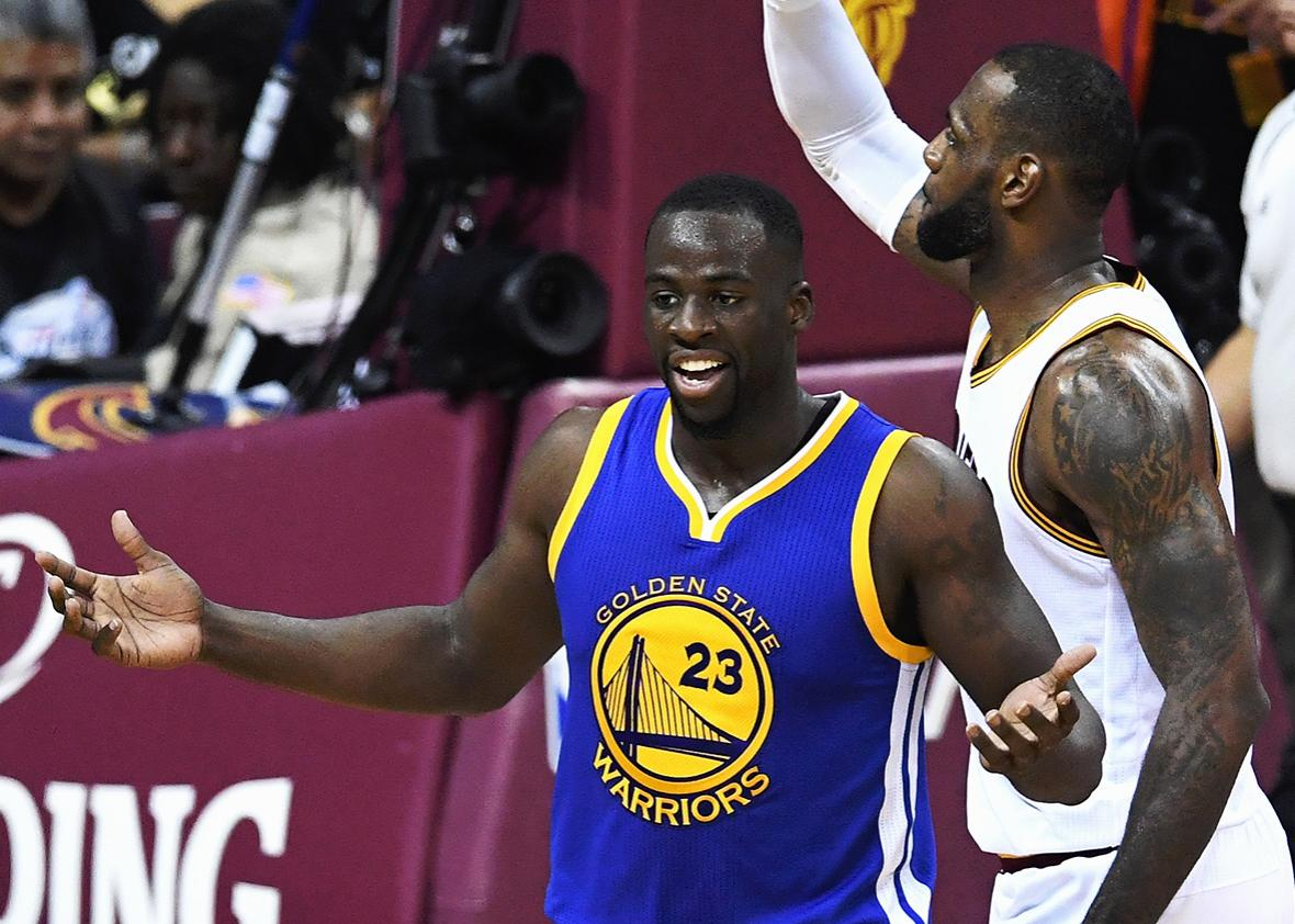 Draymond Green #23 of the Golden State Warriors reacts against the Cleveland Cavaliers in Game 6 of the 2016 NBA Finals at Quicken Loans Arena on June 16, 2016 in Cleveland, Ohio.