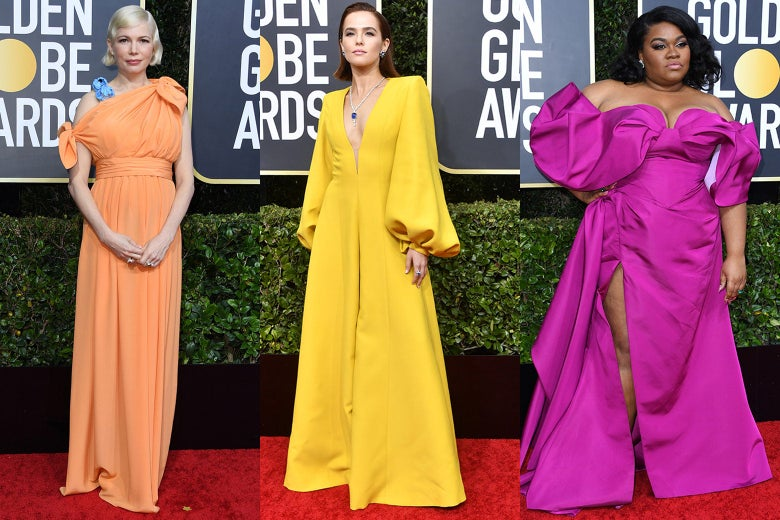 Michelle Williams, Zoey Deutch, and Da'Vine Joy Randolph pose on the 2020 Golden Globes red carpet.