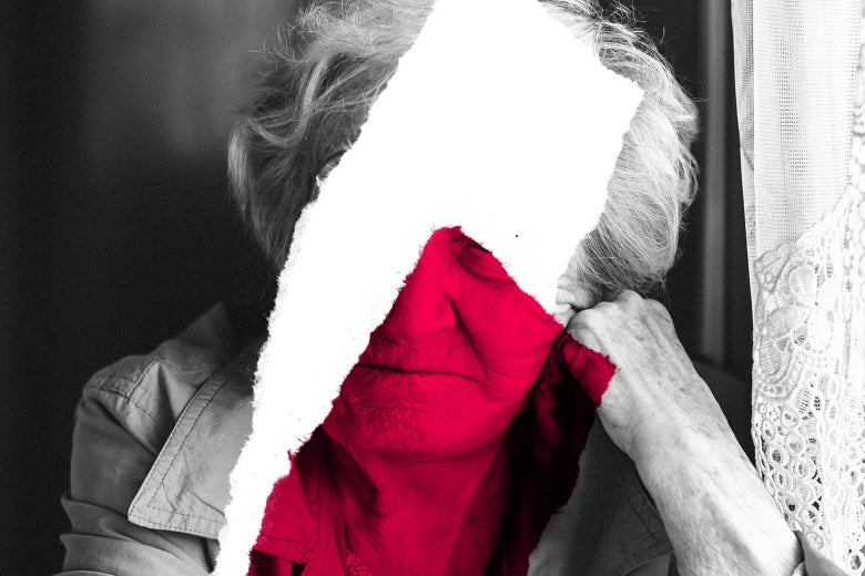 Photo illustration: torn image of an older woman.