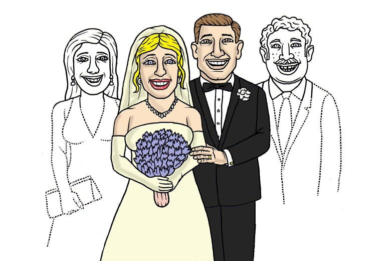 A newlywed couple stands between fading outlines of friends who have become distant since the wedding. Illustration by Mark Alan Stamaty.