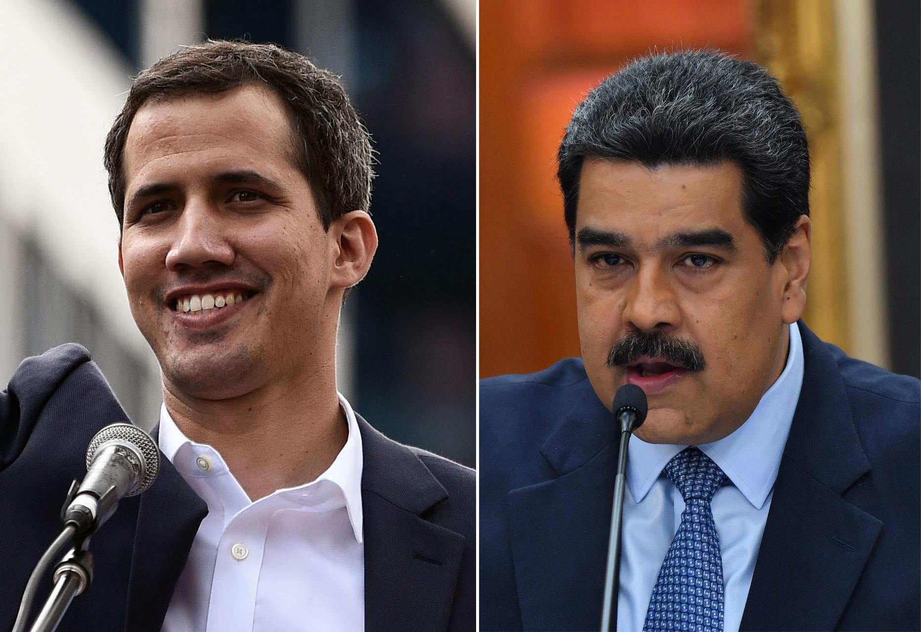 On the left is a photograph of a smiling Juan Guaidó. On the right is a photo of Nicolás Maduro.