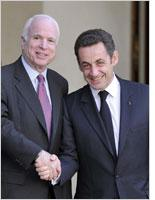 John McCain and French President Nicolas Sarkozy. Click image to expand
