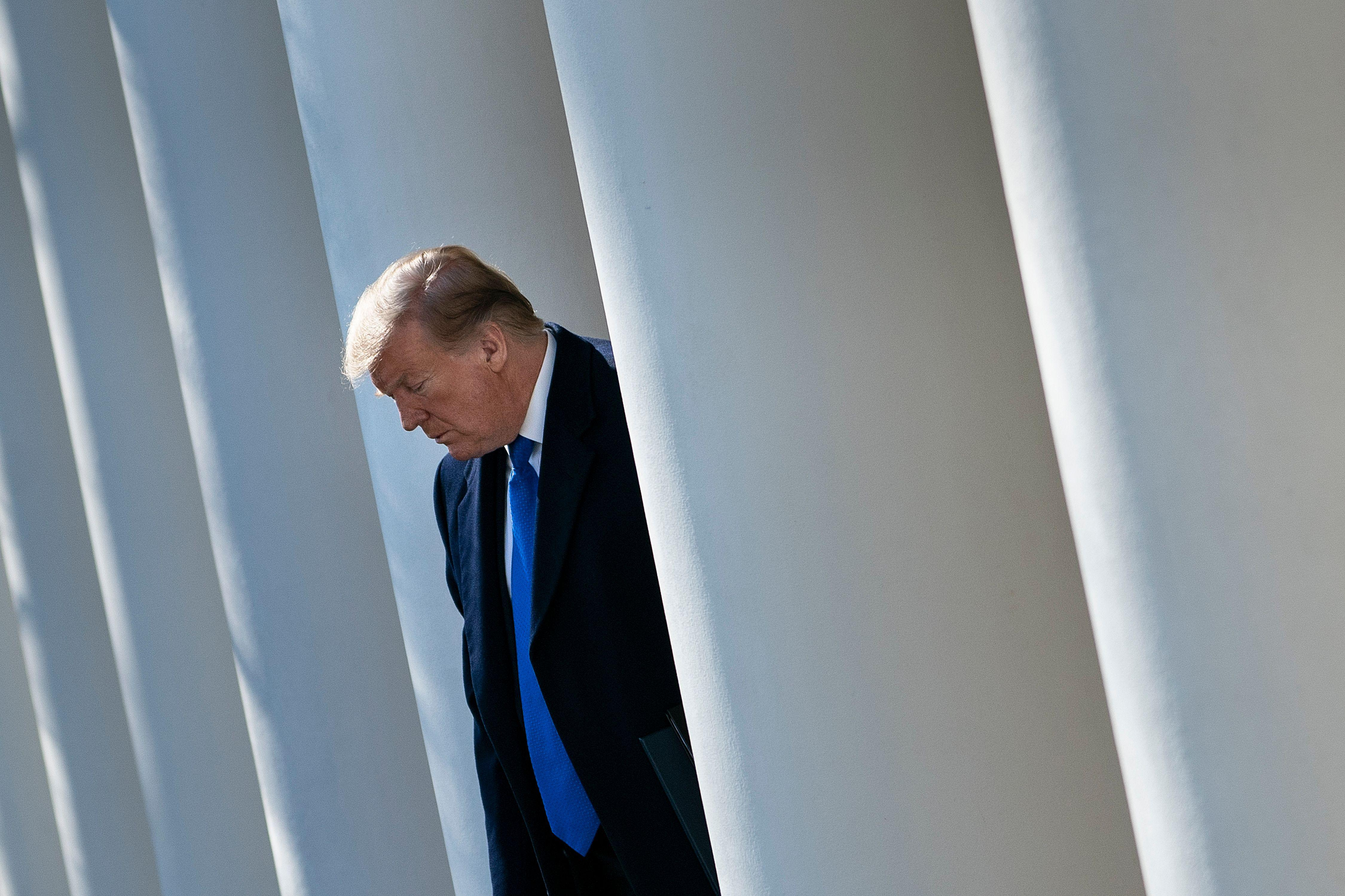 President Donald Trump standing between White House columns.