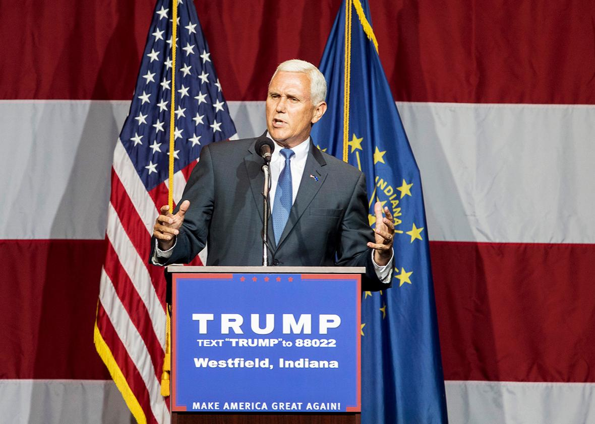 Indiana Governor Mike Pence introduces Republican presidential candidate Donald Trump at the Grand Park Events Center on July 12, 2016 in Westfield, Indiana.