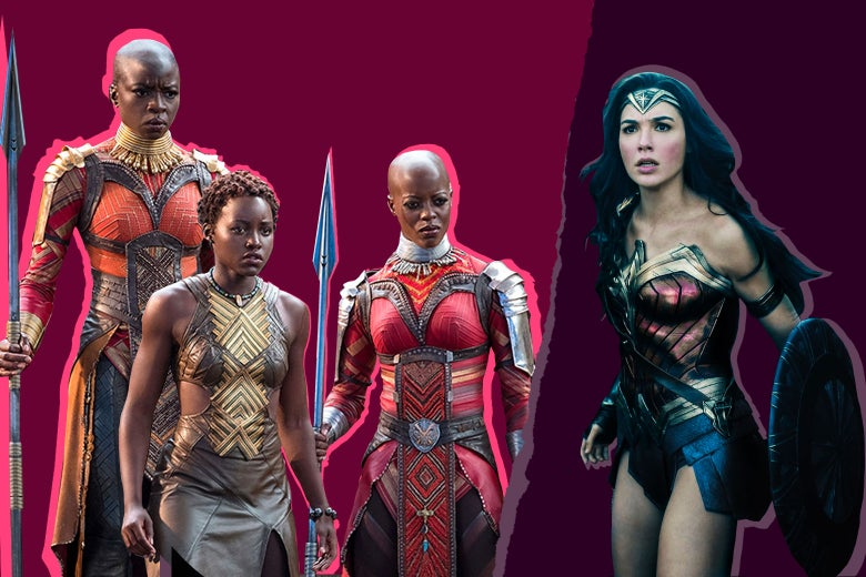 Women from Wonder Woman and Black Panther.