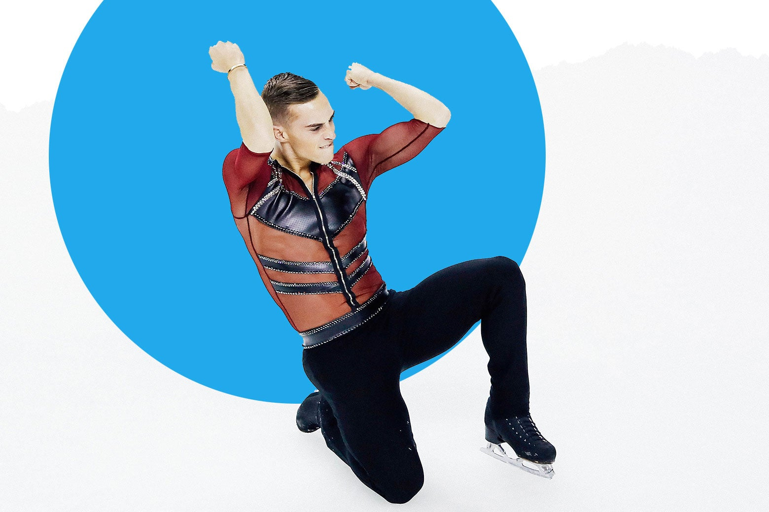 Adam Rippon skating in a red leather shirt.
