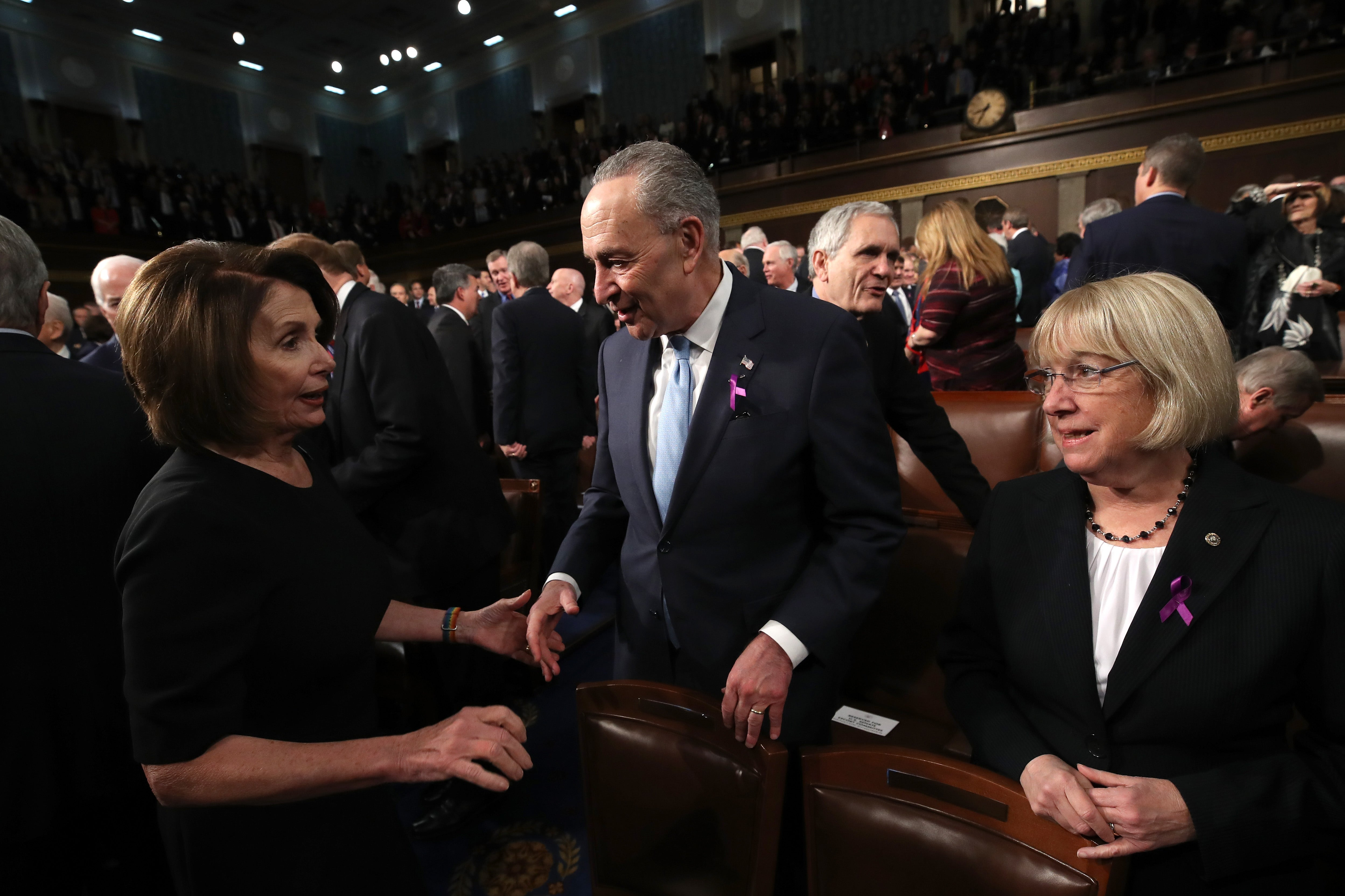 Nancy Pelosi and Chuck Schumer at the State of the Union address on Jan. 30.