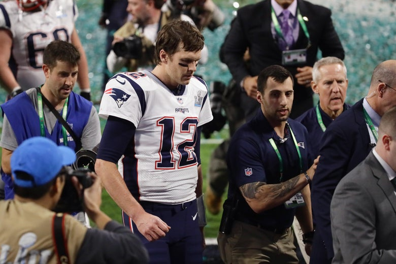 MINNEAPOLIS, MN - FEBRUARY 04: Tom Brady #12 of the New England Patriots reacts after losing Super Bowl LII to the Philadelphia Eagles 41-33 at U.S. Bank Stadium on February 4, 2018 in Minneapolis, Minnesota.  (Photo by Jonathan Daniel/Getty Images)