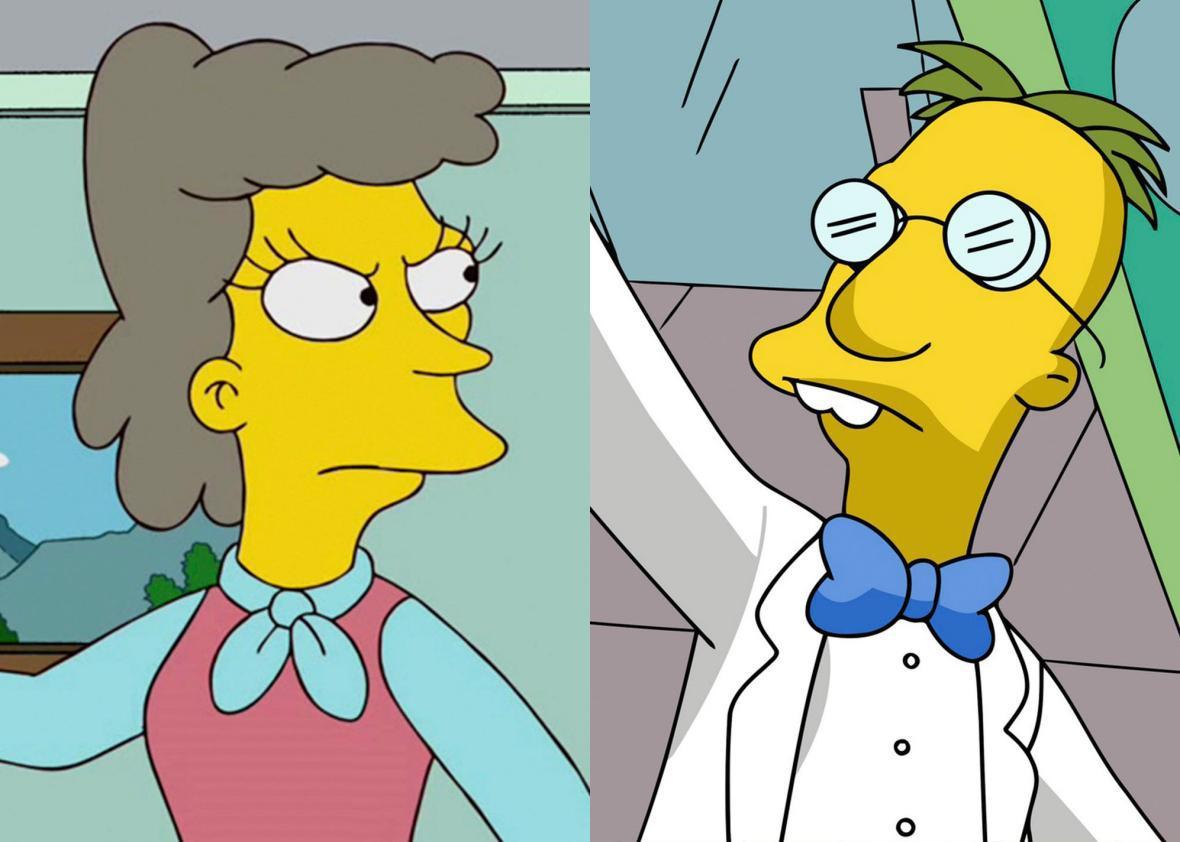 Helen Lovejoy and Professor Frink.