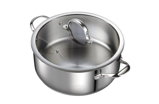Cooks Standard 7-Quart Classic Stainless Steel Dutch Oven.