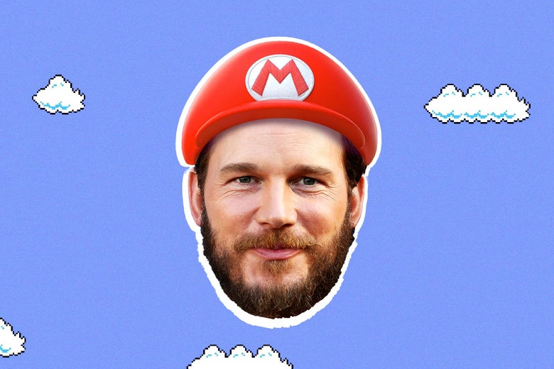 A man with a brown beard wears a red hat that says the letter M on it. His head is floating atop a blue sky background with white clouds.