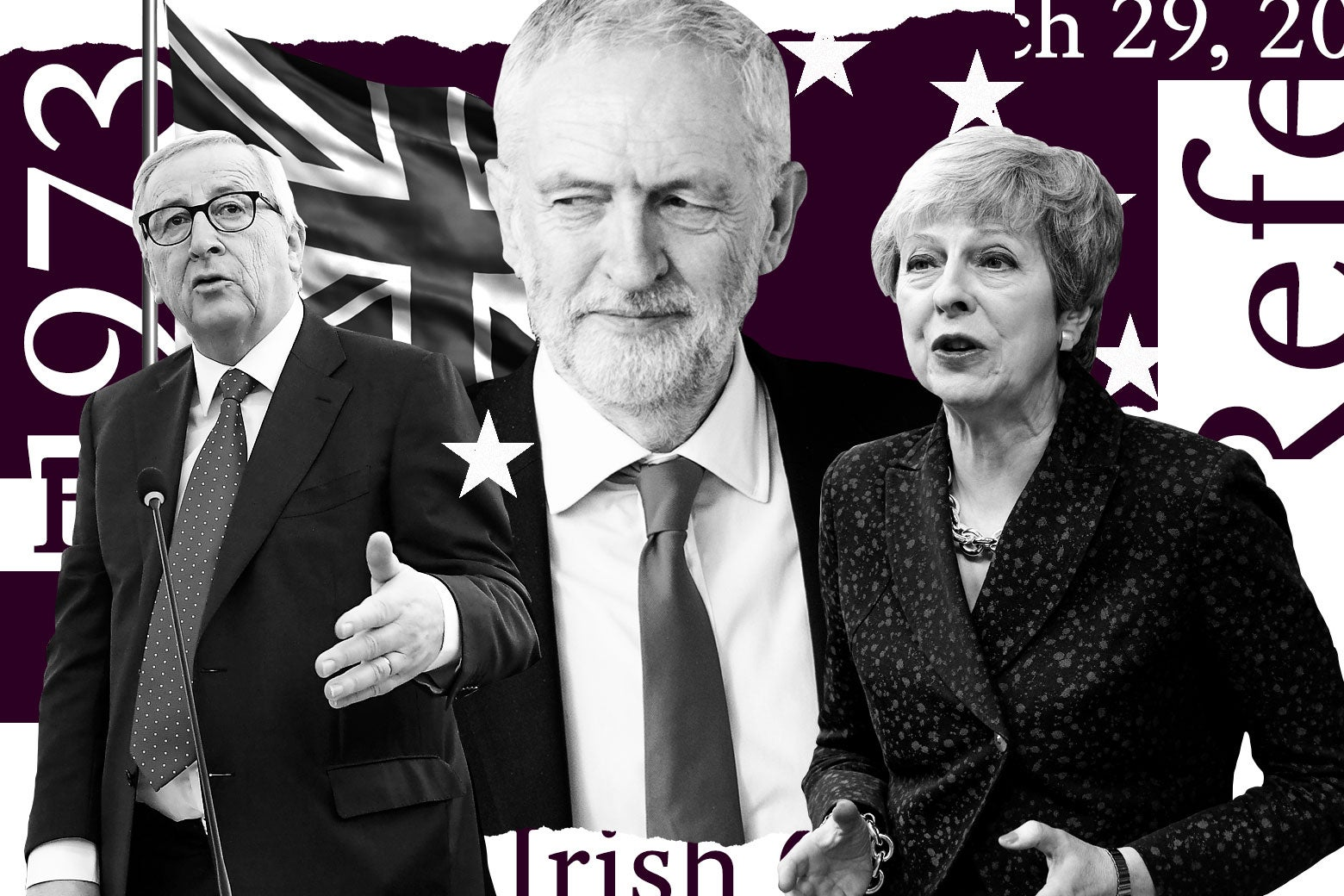 "Photo illustration of European Commission President Jean-Claude Juncker, Labour Party leader Jeremy Corbyn, and U.K. Prime Minister Theresa May against a backdrop of the United Kingdom flag and several Brexit-related word cutouts, including ""Irish,"" ""1973,"" ""March 29, 2019,"" and ""Referendum."""