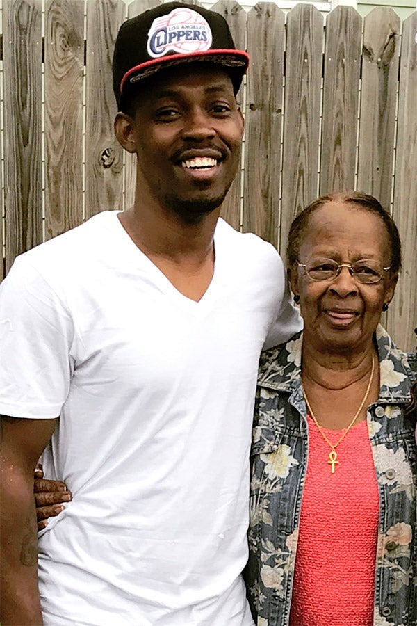 Anthony Franklin Jr. with his grandmother, Antoinette Franklin, who died of COVID-19-related complications on March 23.