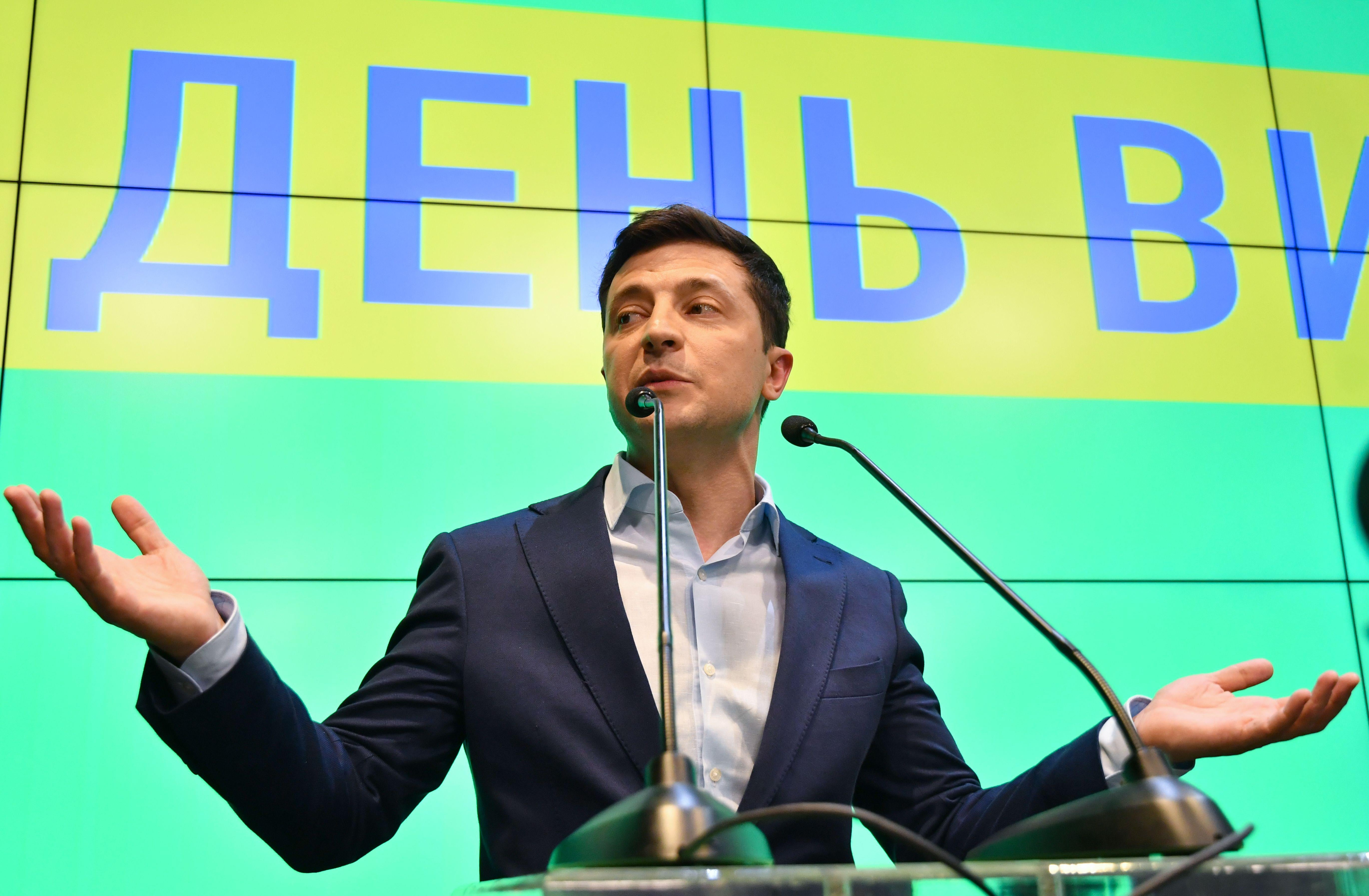 Ukrainian president-elect Volodymyr Zelensky speaks to the media during press conference at his campaign headquarters in Kiev on April 21, 2019.