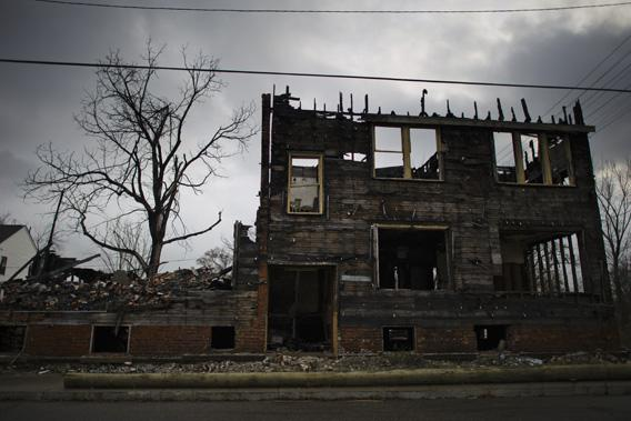 A burnt out abandoned apartment building is seen in Detroit, December 17, 2011.