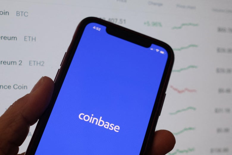 This illustration photo shows the Coinbase logo on a smartphone.