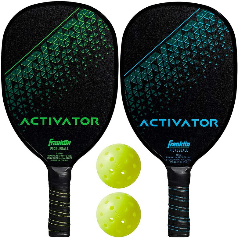 Two paddles and two pickleballs