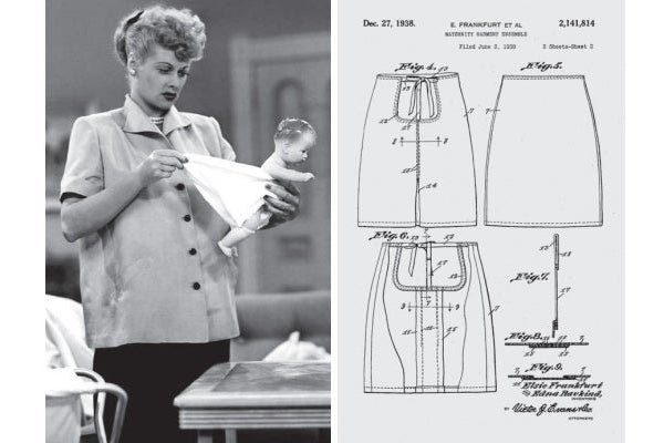At left: Lucille Ball in I Love Lucy tries to fit a diaper on a doll. At right: a patent drawing for a tie-waste skirt.