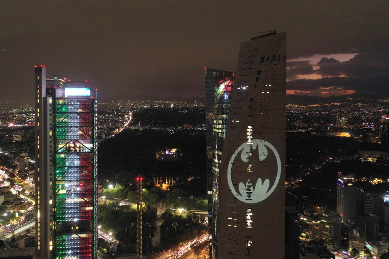 Aerial view of the Batman's symbol projected on the Reforma Tower in Mexico City.