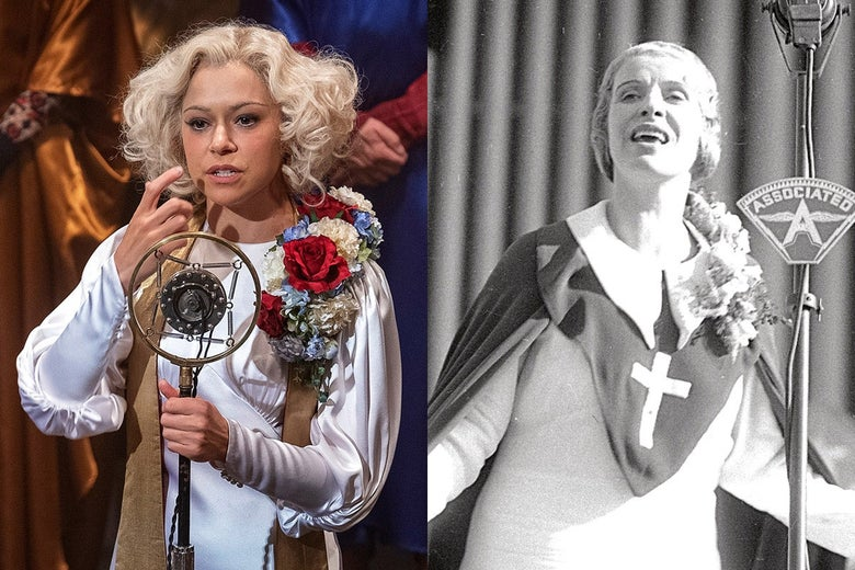 Tatiana Maslany as Sister Alice in HBO's Perry Mason and Sister Aimee Semple McPherson.