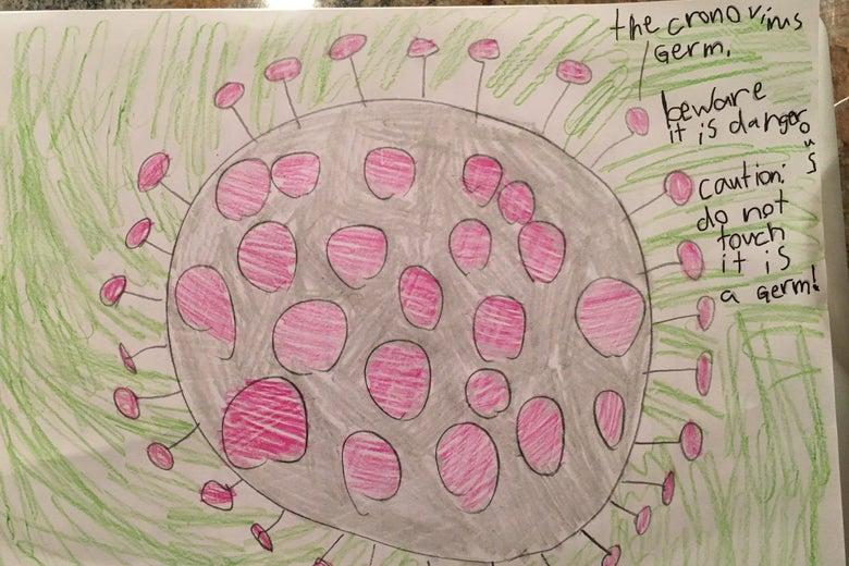 A kid's drawing of the coronavirus
