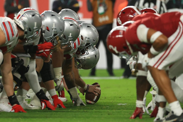 Ohio State's offensive line lined up ready to snap the ball against Alabama's defensive line