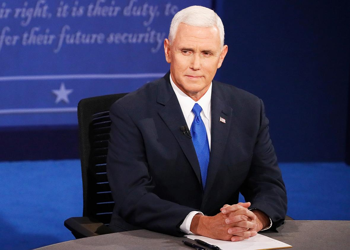 Republican vice presidential nominee Mike Pence during the Vice Presidential Debate at Longwood University on Oct. 4, 2016 in Farmville, Virginia.
