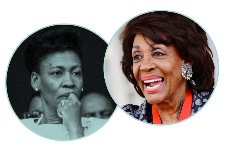 Maxine Waters, around age 45, and Maxine Waters, around age 82, as seen in black-and-white and color headshots.