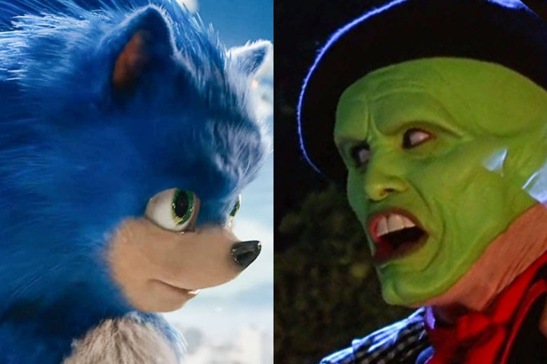 Sonic the Hedgehog and Jim Carrey's The Mask stare each other down.