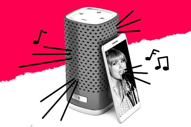 Taylor Swift playing from a smart speaker.