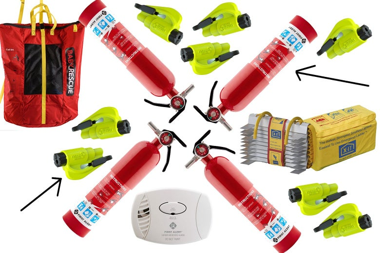 Collage of fire extinguishers, baby rescue bag, carbon monoxide detector, emergency ladder, and car escape tool.