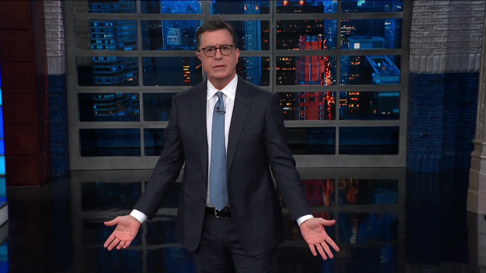 Stephen Colbert delivering a monologue.