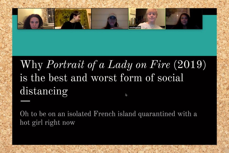 "A powerpoint screengrab that says ""Why Portrait of a Lady Is the Best and Worst Form of Social Distancing."""