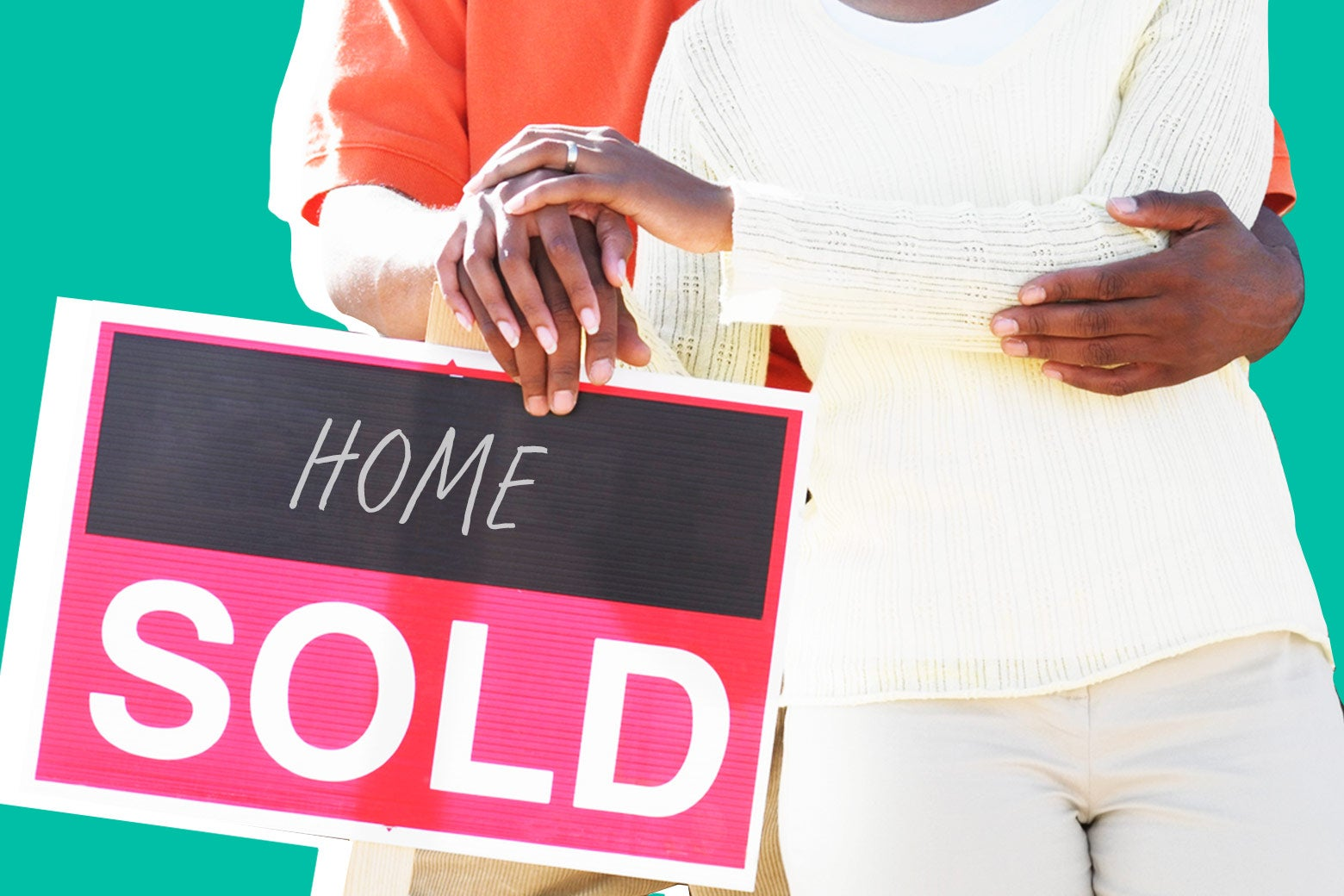 A black family with a home-sold sign.