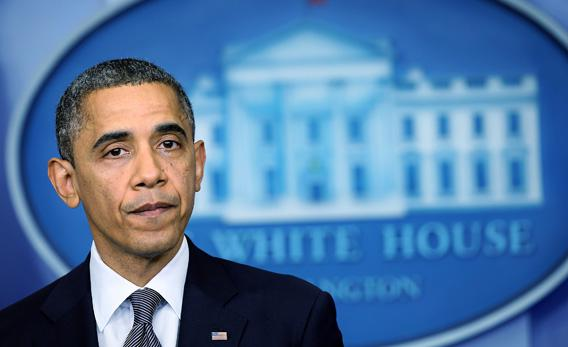 President Obama pauses as he makes a statement in response to the elementary school shooting in Connecticut.