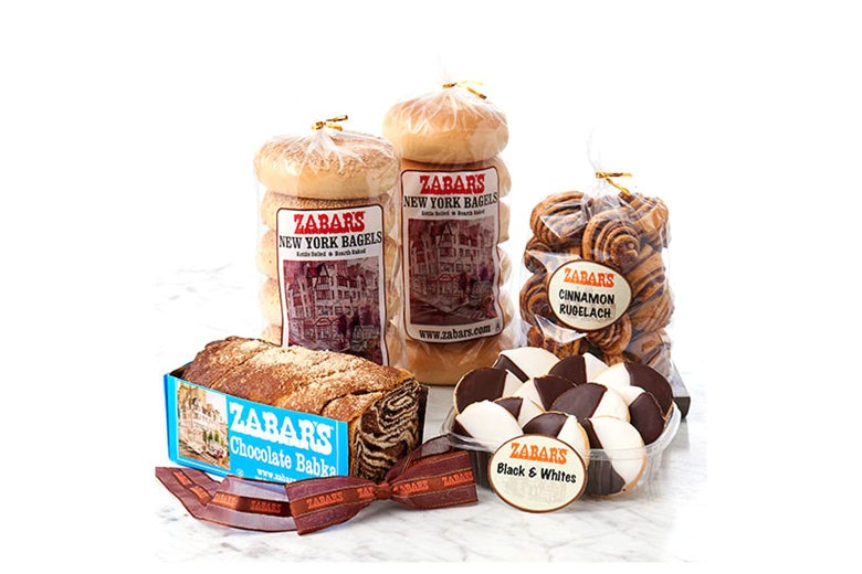 Zabar's babka, bagels, rugelach, and black-and-white cookies.