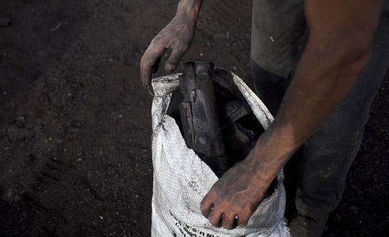 Laborers prepare charcoal.