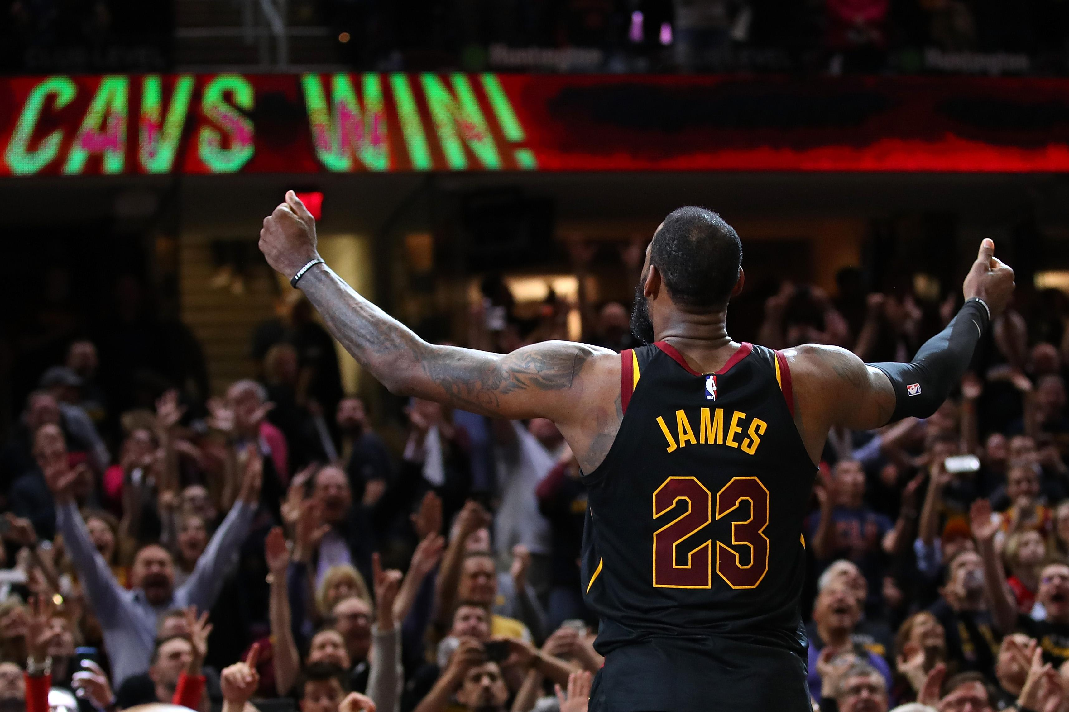 CLEVELAND, OH - MAY 05:  LeBron James #23 of the Cleveland Cavaliers celebrates after hitting the game winning shot to beat the Toronto Raptors 105-103 in Game Three of the Eastern Conference Semifinals during the 2018 NBA Playoffs at Quicken Loans Arena on May 5, 2018 in Cleveland, Ohio. NOTE TO USER: User expressly acknowledges and agrees that, by downloading and or using this photograph, User is consenting to the terms and conditions of the Getty Images License Agreement. (Photo by Gregory Shamus/Getty Images)