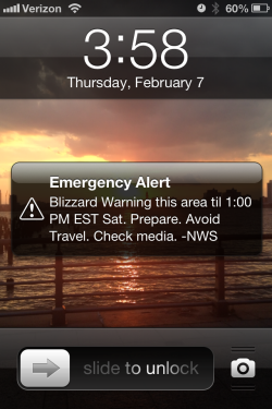Emergency alert iPhone screenshot