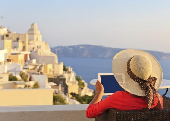 iPad in Santorini