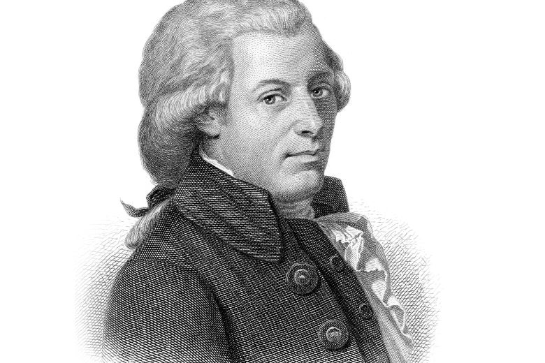 It's an illustration of Wolfgang Amadeus Mozart
