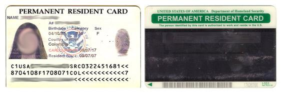 Green card issued in 2007.