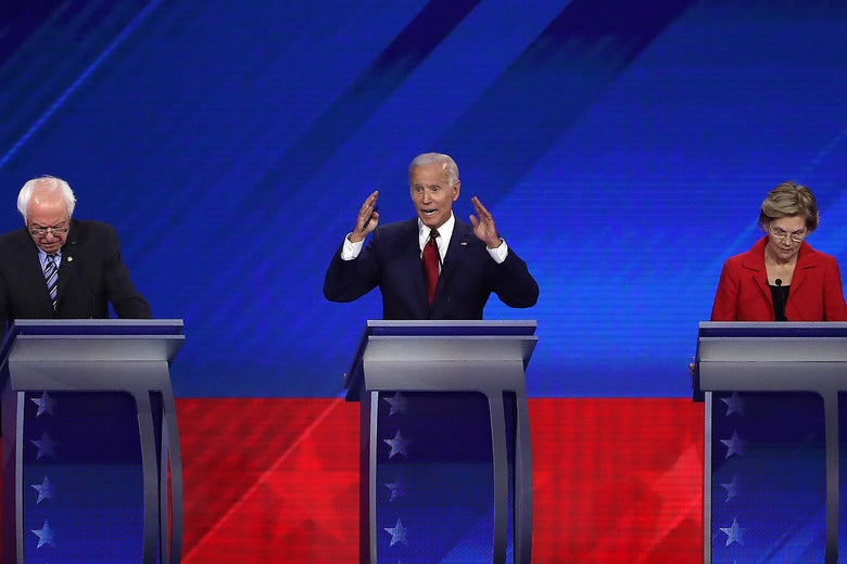 Bernie Sanders, Joe Biden, and Elizabeth Warren at their podiums.
