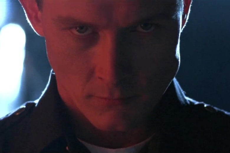 Robert Patrick, in the role of a T-1000 Terminator in T2.