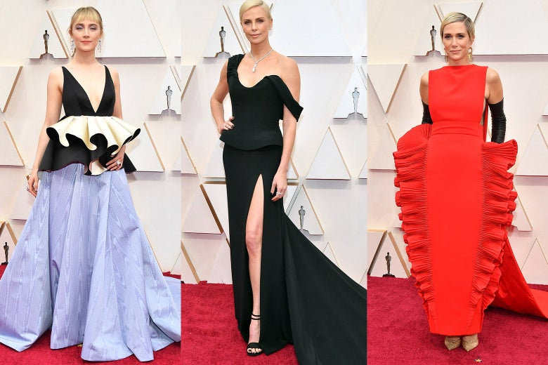 Collage of Saoirse Ronan, Charlize Theron, and Kristen Wiig wearing frills on the red carpet at the Oscars.