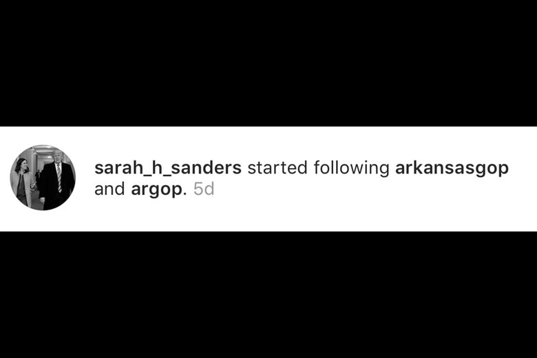 Sarah Huckabee Sanders follows official Arkansas GOP accounts