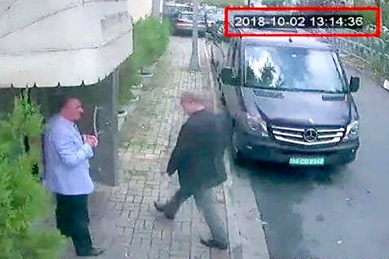 Jamal Khashoggi entering the Saudi Consulate in Istanbul