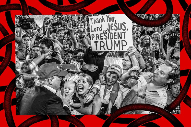 """Trump greeting a jubilant crowd at a rally. One supporter holds up a sign that says """"Thank you, Lord Jesus, for President Trump."""""""